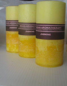 Bright Yellow: JASMINE Pillar Candle Tall 3x6.5