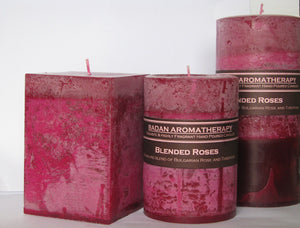 Rose & Tuberose Pillar Candle 3x4 Square Deep Red Magenta Floral