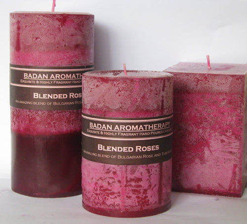 Rose & Tuberose Pillar Candle 3x6 Tall Deep Red Magenta Floral