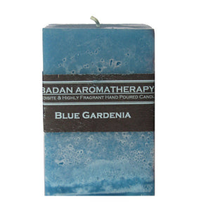 "Blue Gardenia Pillar Candle 3""x4"" Medium Square Floral Classic Candle"
