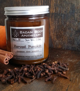 Badan No 33: Harvest Pumpkin Cinnamon Clove Apothecary Jar Soy Candle - Hand Poured 7.5 oz