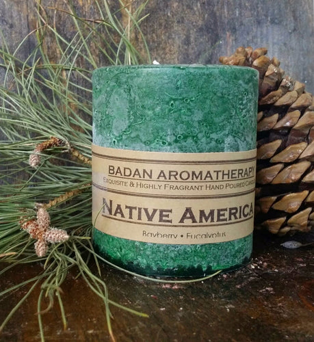 Dark Green Eucalyptus Pine & Bayberry Pillar Candles - Handmade Candle Collection - Winter Candles