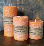 Badan Sugared Vanilla Scented Pillar Candle Collection - Handmade in the USA