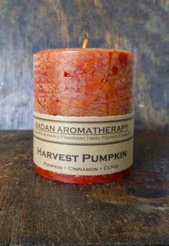 Harvest Pumpkin Scented Pillar Candle, 3x3.5