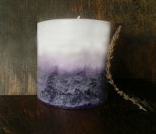 Lavender Beeswax Pillar Candle, Lavender Candle, 3x3.5 White & Purple, Hand Poured Candles