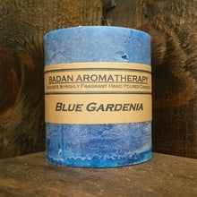 "Blue Gardenia Pillar Candle 3""x3.5"" Short Classic Floral Candle"