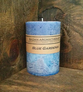 "Blue Gardenia Pillar Candle 3""x4.5"" Medium Classic Floral Candle - BadanBody"