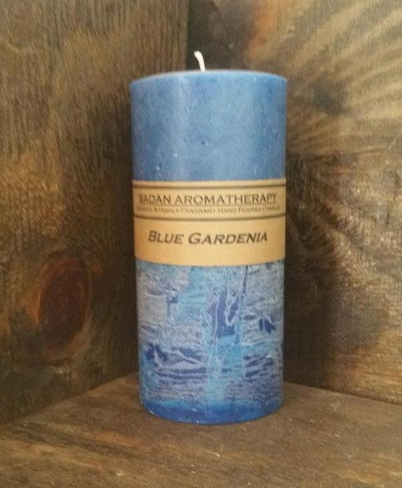Blue Gardenia Pillar Candle 3