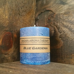 "Blue Gardenia Pillar Candle 3""x 6.5"" Tall"