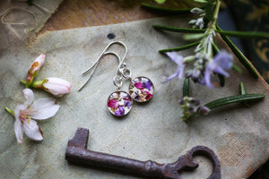 Pressed petal silver earrings