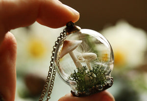 glass mushroom necklace dandelion seeds jewellery