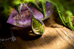 Forest fern teardrop pendant