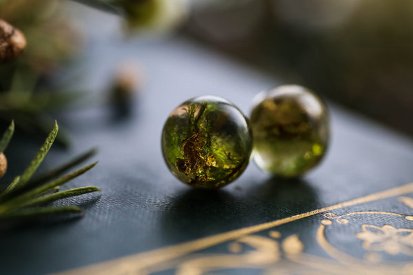 Real forest moss and gold leaf earrings on Sterling silver posts