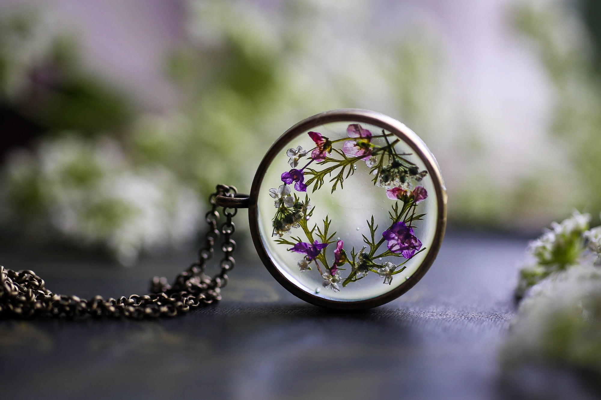 Pressed flower necklace - pink and purple wreath
