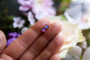 Tiny jewel toned earrings