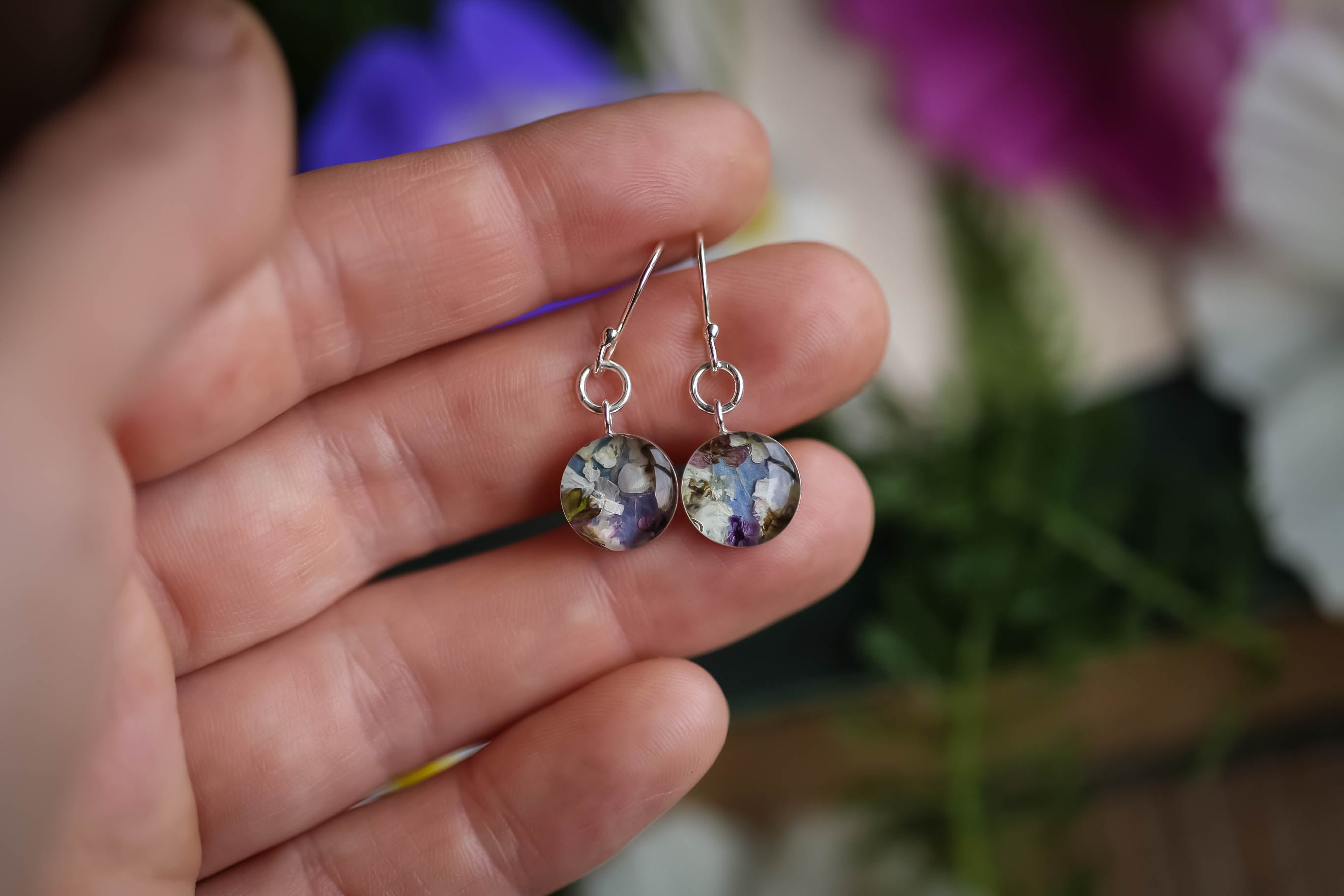 Tiny floral wreath earrings in blue and pink