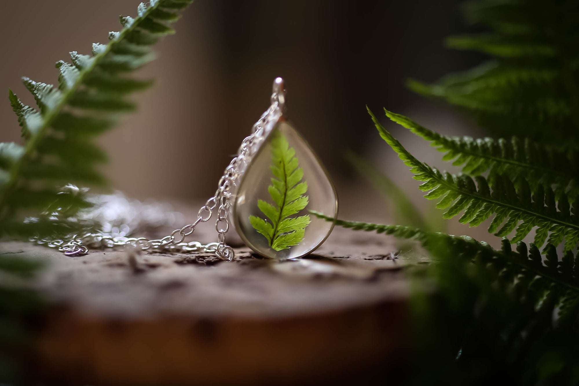 Tiny fern leaf teardrop pendant