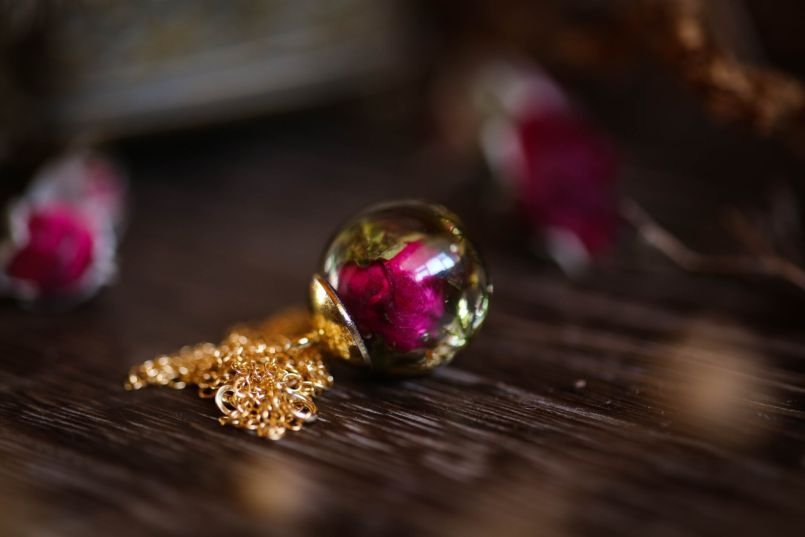 Rose, moss and gold leaf pendant on 14k gold chain