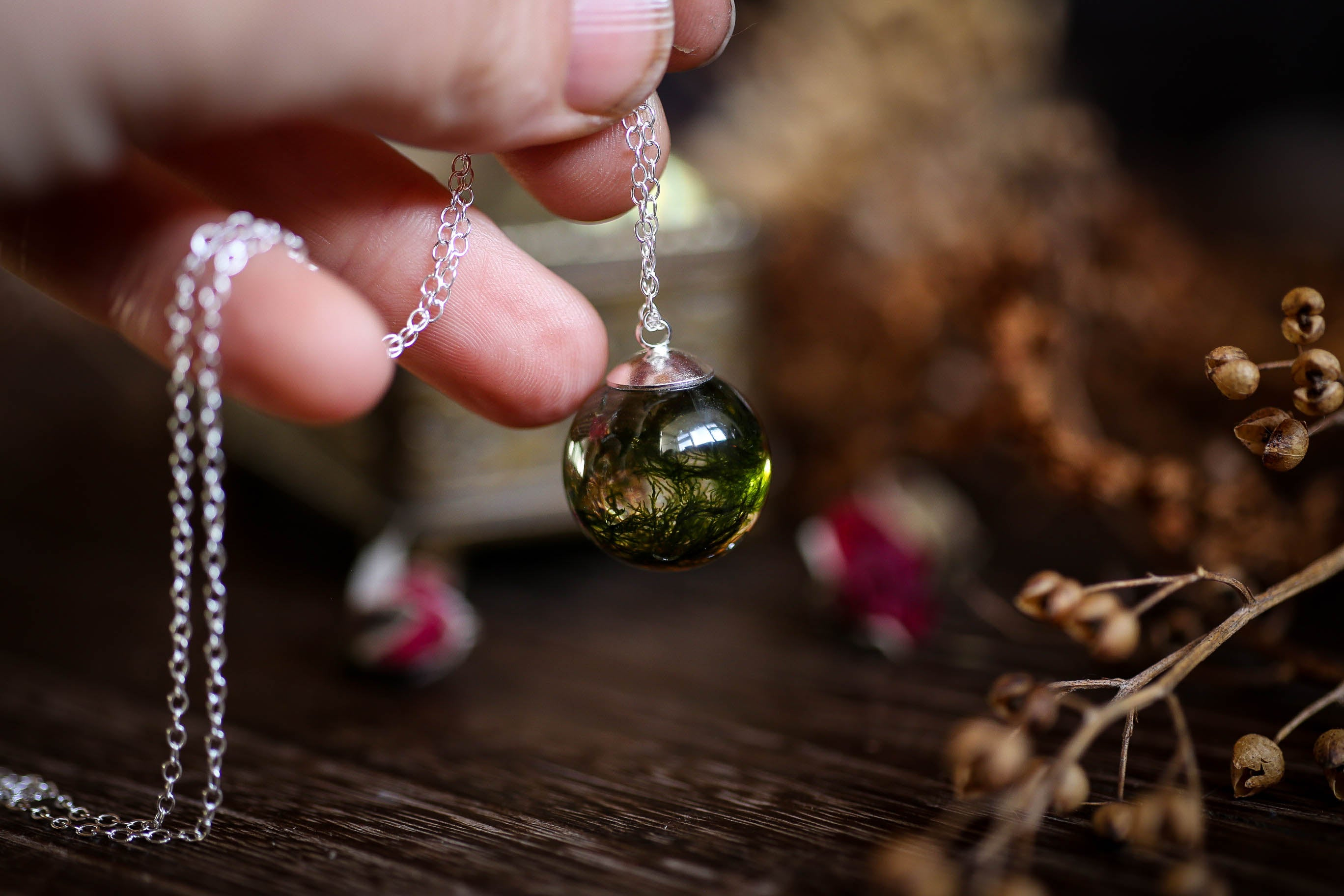 Forest moss droplet necklace in Sterling silver