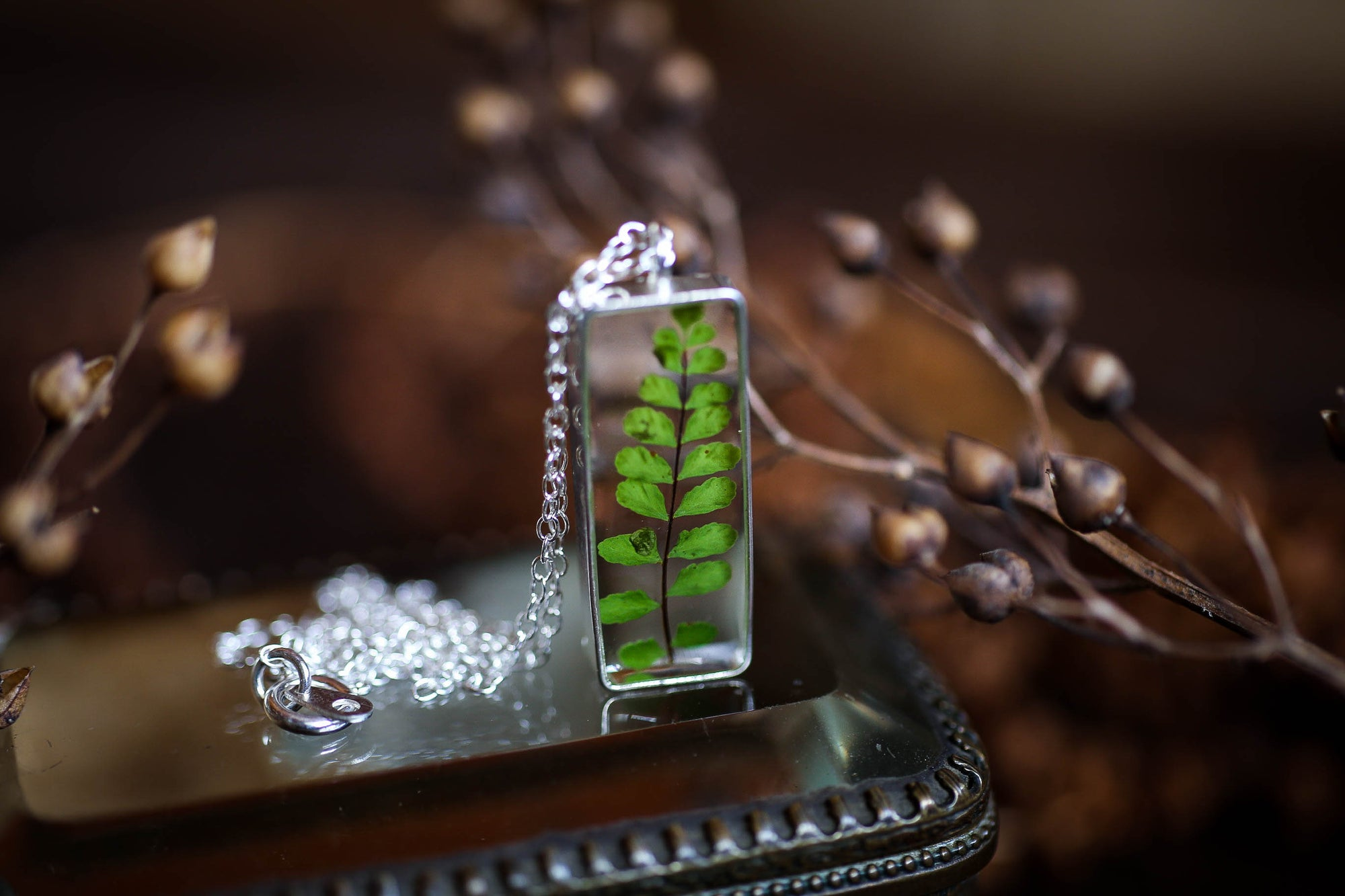 Sterling silver fern leaf necklace
