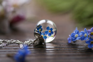 Real forgetmenot droplet pendant