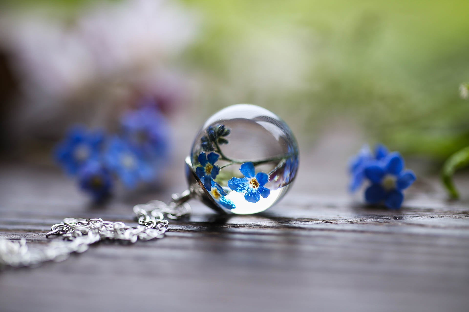 Something blue - Real forgetmenot pendant