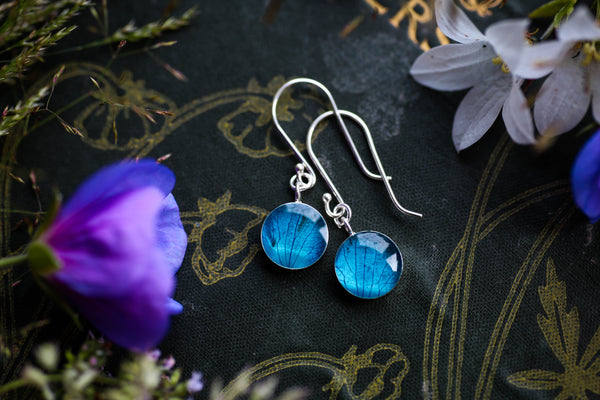 Turquoise hydrangea petal drop earrings
