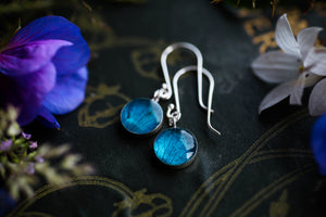 Turquoise hydrangea petal earrings