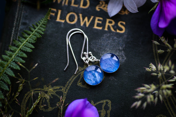 Deep blue hydrangea petal drop earrings