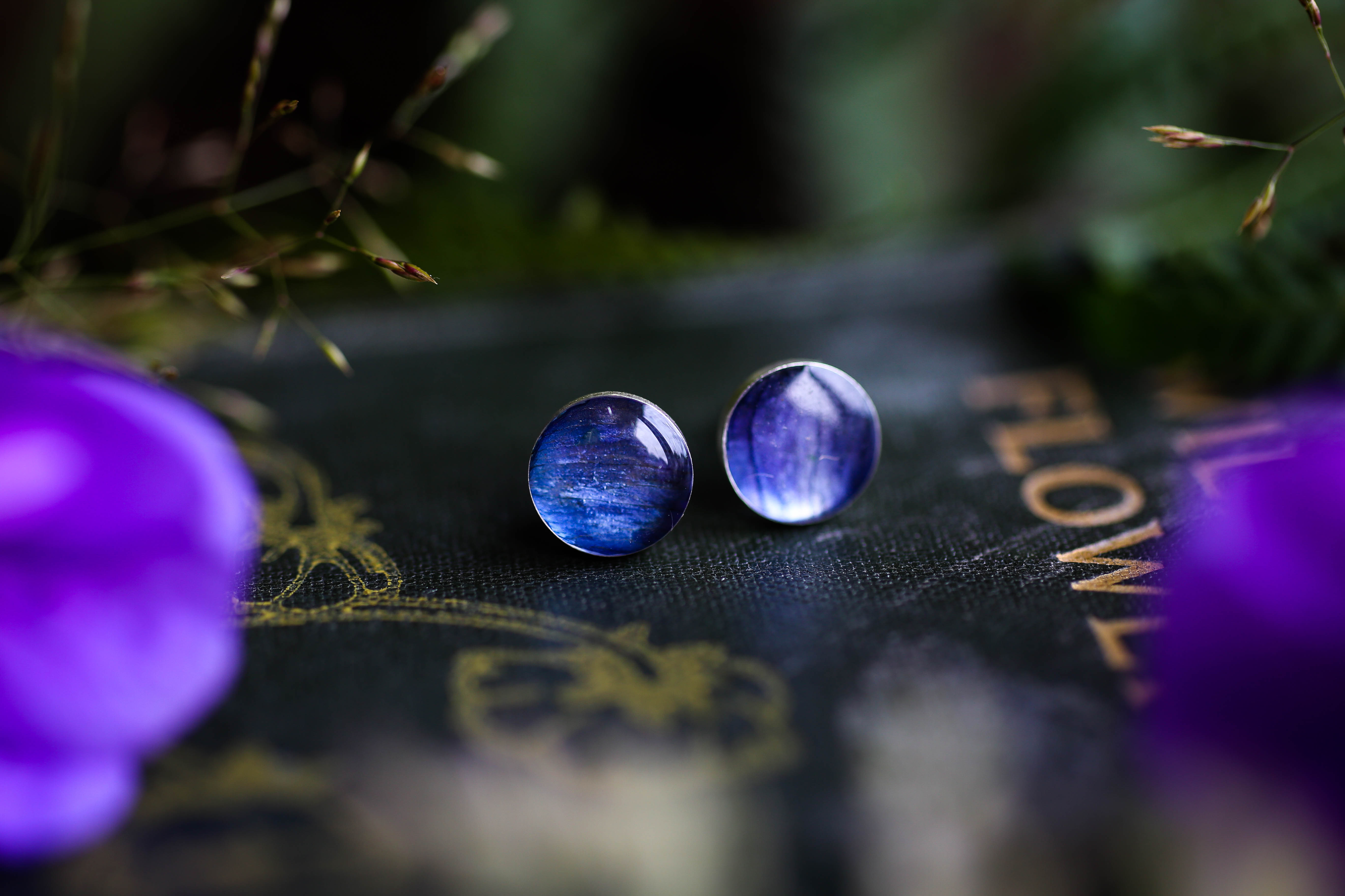 Deep blue Delphinium petal earrings
