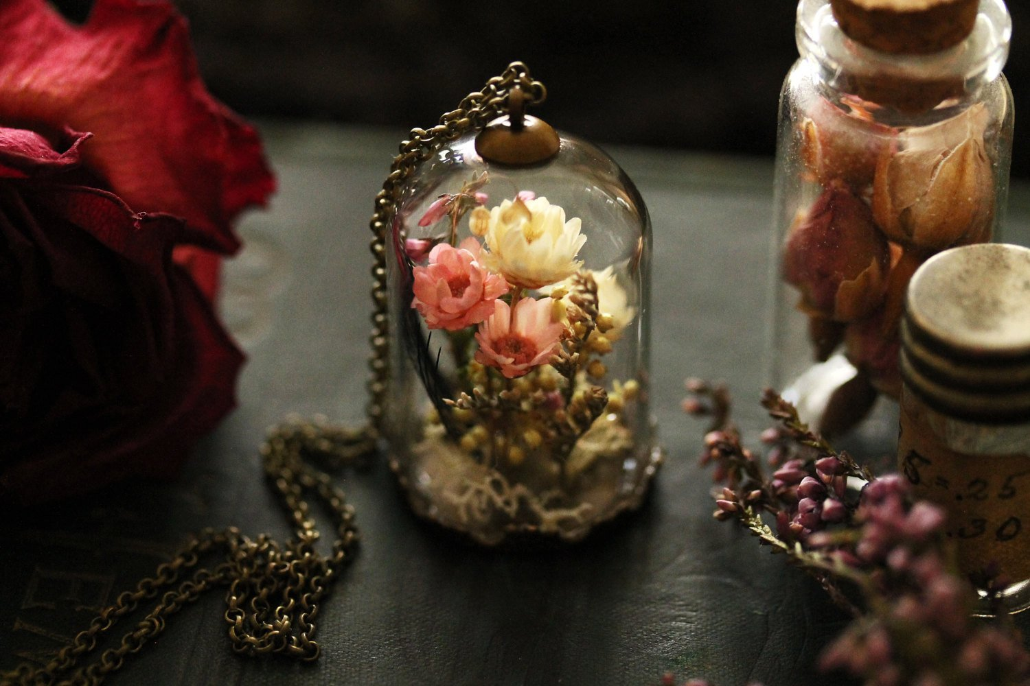 Dried flower necklace pressed flower long pendant necklace glass jewelry