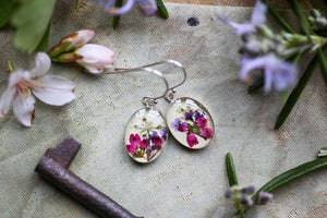 Pink heather flowers resin earrings