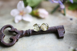 Dainty earring studs with white flowers