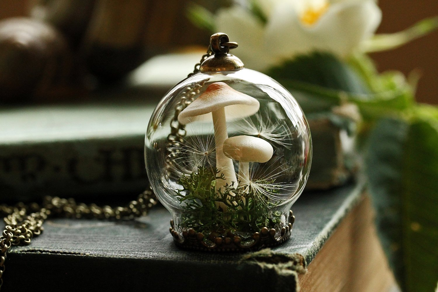 Tiny mushroom terrrarium moss jewellery pendant necklace handmade terrarium dandelion seed wish necklace