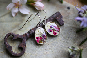 pink and green floral earrings