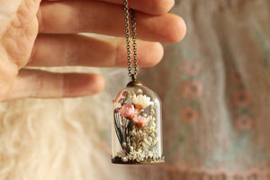 Victorian style necklace with real botanicals