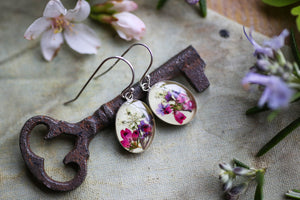 silver dangle earrings with pressed flowers
