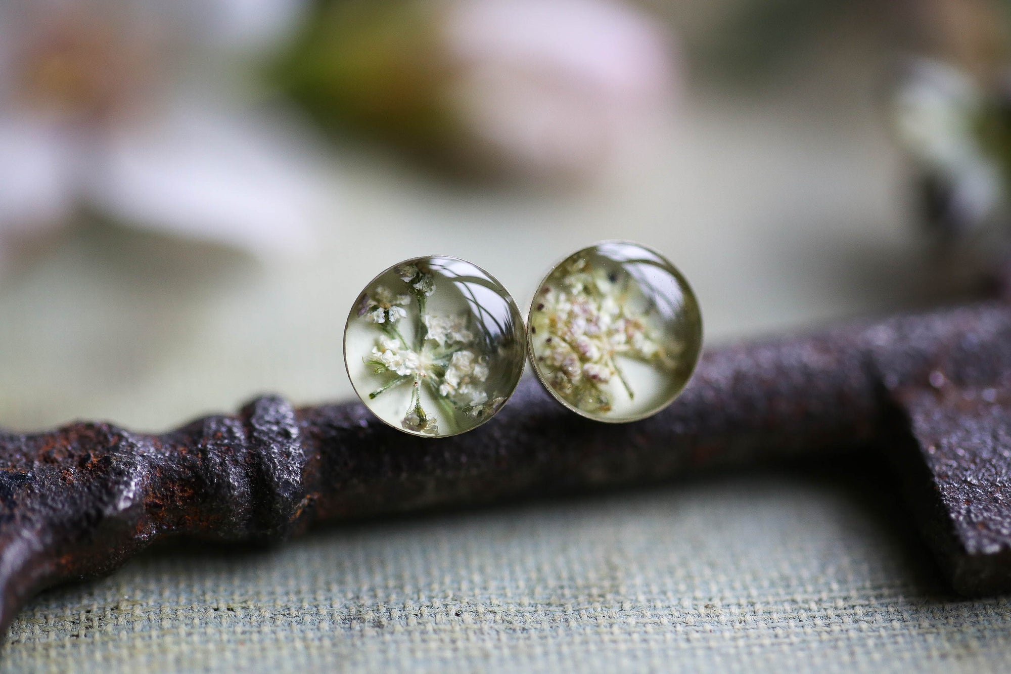Small white flowers earrings