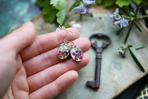 dried flowers earrings on silver earwires