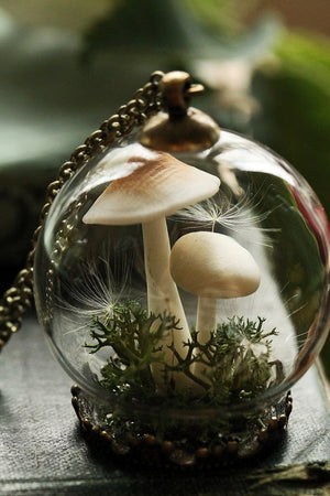 Hand blown glass necklace mushroom terrrarium jewellery