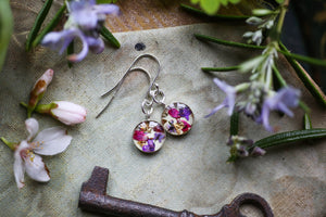 Pink and purple dangle earrings