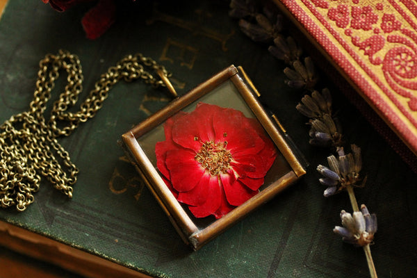 Ruby red rose locket #B3