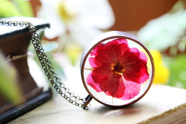 Red rose resin floating locket