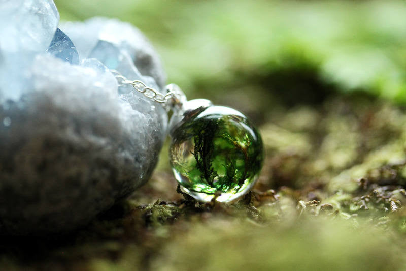 Green forest moss resin orb necklace