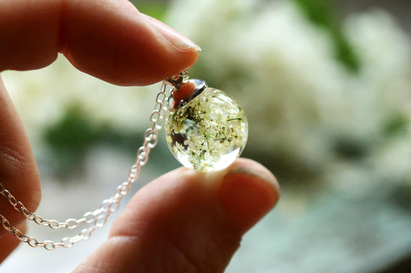 Queen Annes lace necklace on Sterling silver chain