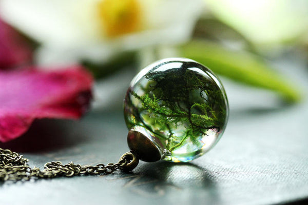 Woodland moss orb necklace