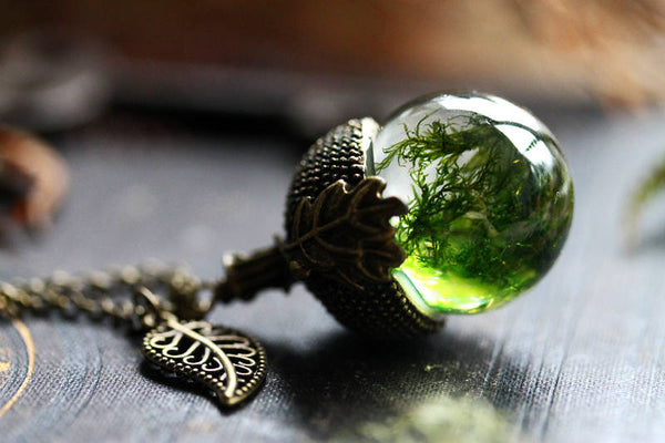 Woodland moss resin acorn necklace