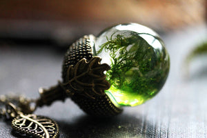 Woodland moss acorn necklace