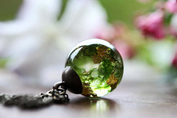 Green woodland moss resin orb necklace with real gold leaf #B5