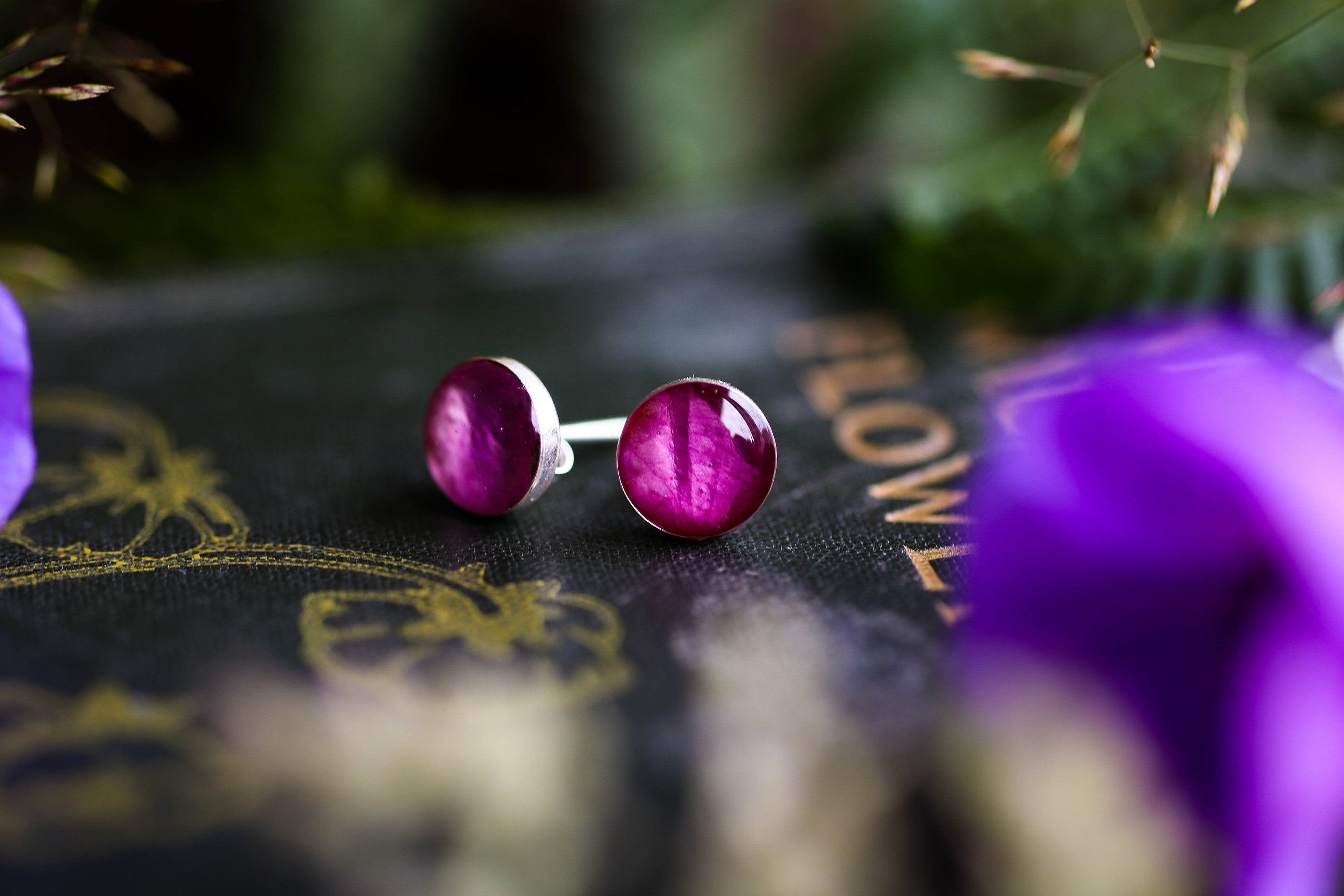 Sterling silver earring and stacking ring gift set: Wild Rose